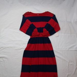 Free People Red Blue Striped Cotton Blend Dress XS